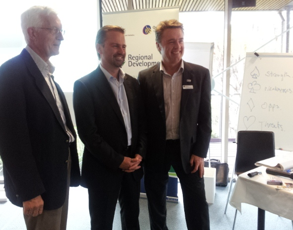 RDA Sunshine Coast Chair Prof Max Standage with David Bartlett and RDA Sunshine Coast CEO Russell Mason.