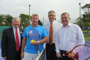 L:R Mick Graham OAM, Deputy Chair RDASC; Matt Deverson, Elite Head Coach & Facility Manager; Cr Tim Dwyer; Minister Anthony Albanese